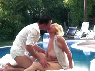 Granny Poolside Titty Grope