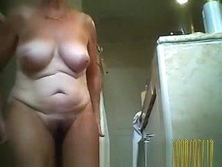 Husband films wife in bathroom