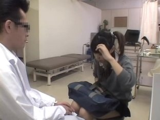 Pigtailed Jap schoolgirl fingered during her pussy exam