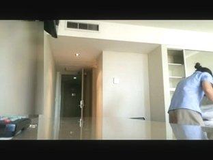 Flashing nice hotel maid
