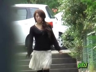 Zealous Japanese angel flashes her beaver when her skirt gets lifted