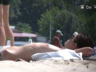 Hot naked women filmed on a nudist beach