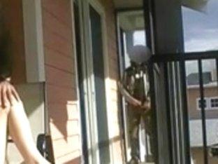 Voyeur exhib balcony masturbacion