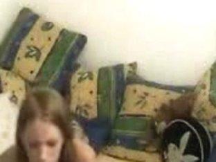 Girl entertains on pecker