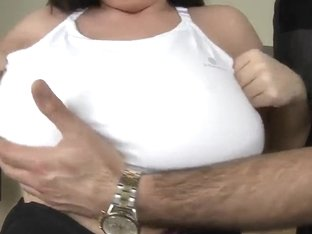 Arianna uses tits to satisfy James Brossman