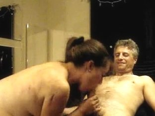 Chubby mature woman giving head to an old dude