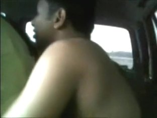 Indian couple fucks on the backseat of their car next to the highway