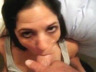 Slim bitty brunette Slut BJ facial part 1