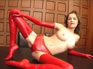 Beauty in Red Latex GLoves and Stockings