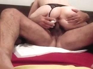 I'm wearing slutty lingerie in amateur couple fuck clip