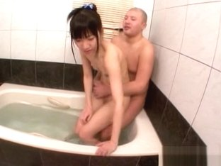 Naughty Asian teen gets creamed pussy in the bath